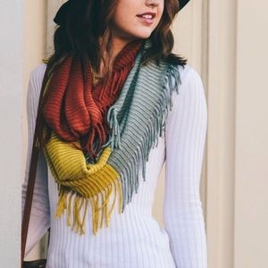 Rust, mustard and sage knit Colorblock Infinity